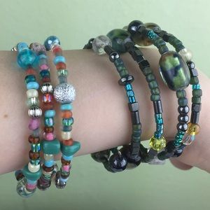 Jewelry - 2 Boho Memory Glass & Mixed Beaded Bracelets